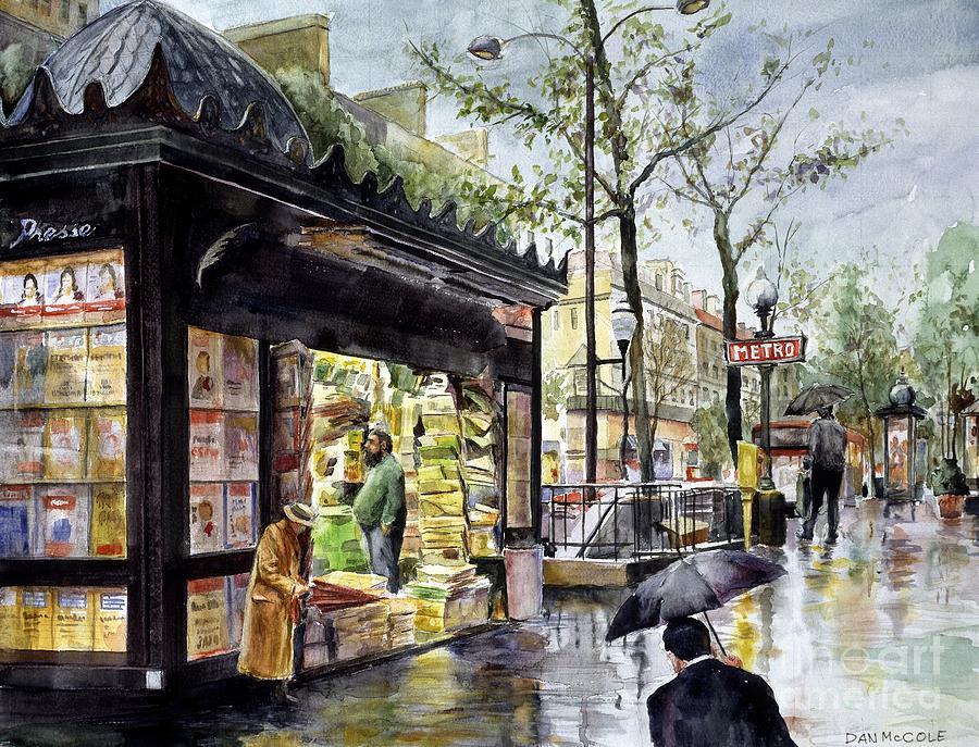 paris in the rain painting by dan mccole. Black Bedroom Furniture Sets. Home Design Ideas