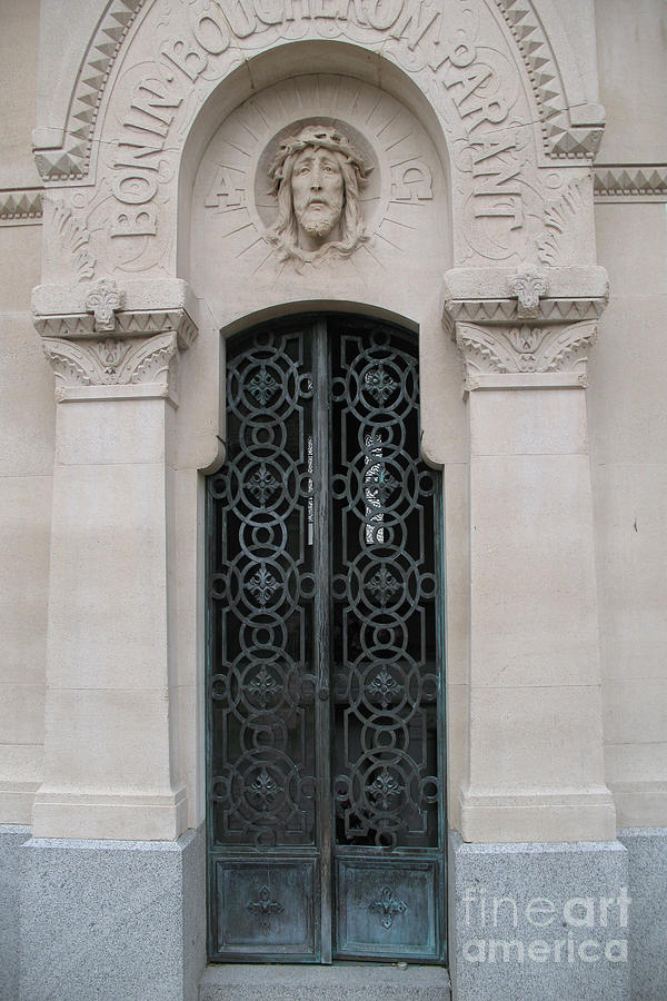 Paris Mausoleum Door With Jesus Photograph by Kathy Fornal