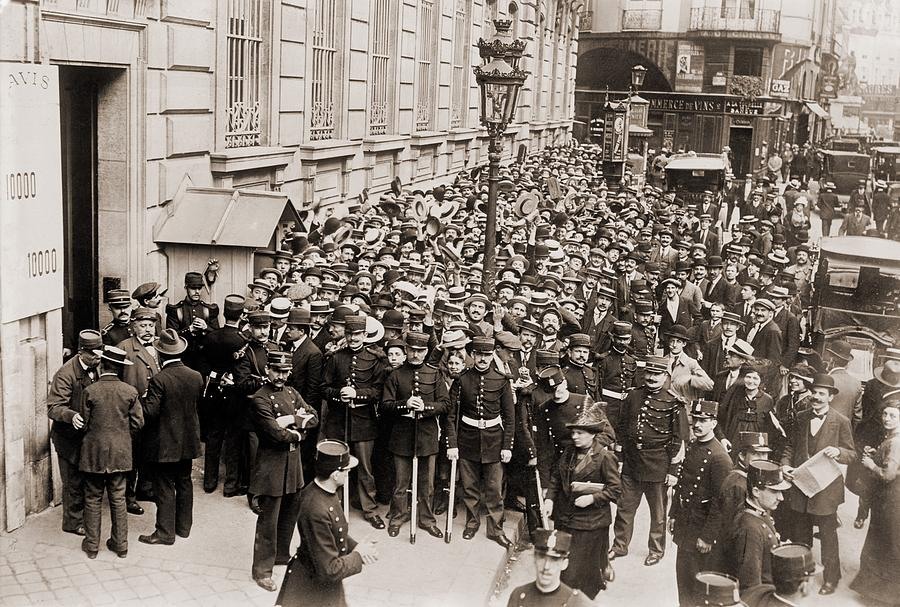 History Photograph - Paris Police Hold Back A Crowd Making by Everett