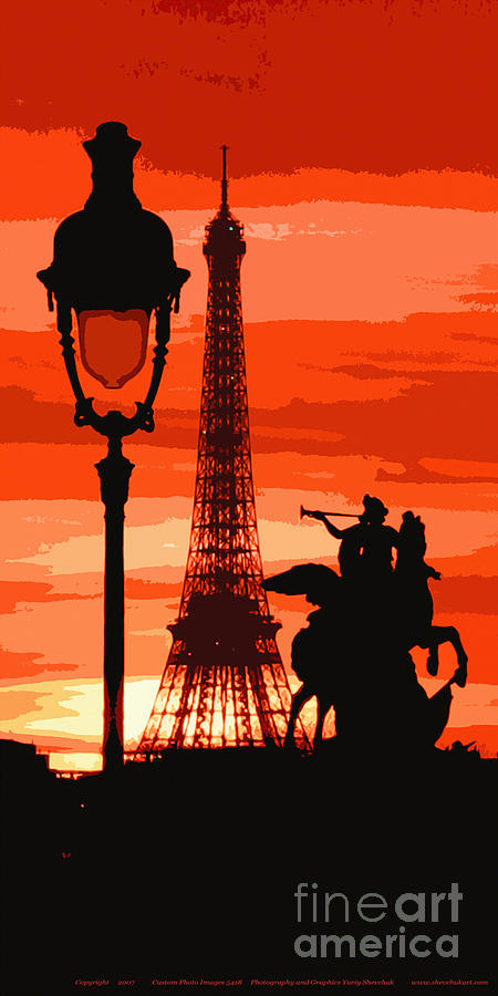 Paris Photograph - Paris Tour Eiffel Red by Yuriy  Shevchuk