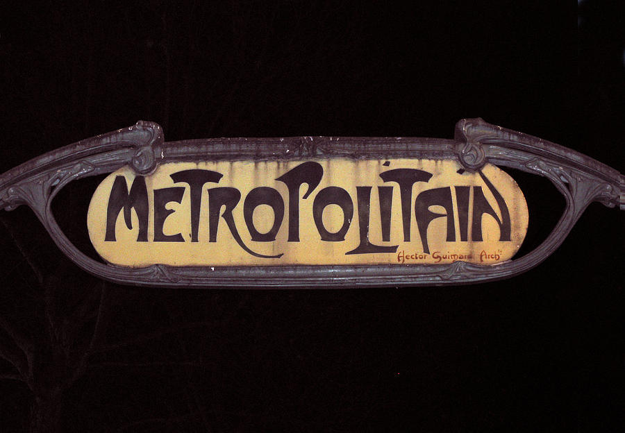 French Photograph - Parisienne Metro Sign by Rod Jones