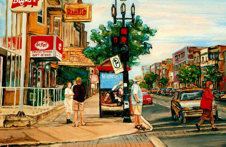 Montreal Painting - Park Avenue And Bernard Montreal City Scene by Carole Spandau