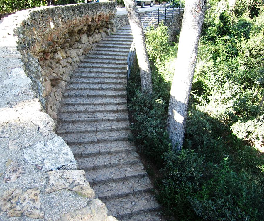 Parc Guell Photograph - Park Guell Curved Steps Stairway In Barcelona Spain by John Shiron