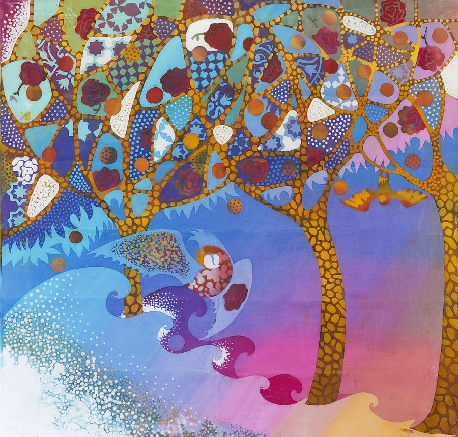 Batik Tapestry - Textile - Park Guell. General Impression. by Kate Krivoshey