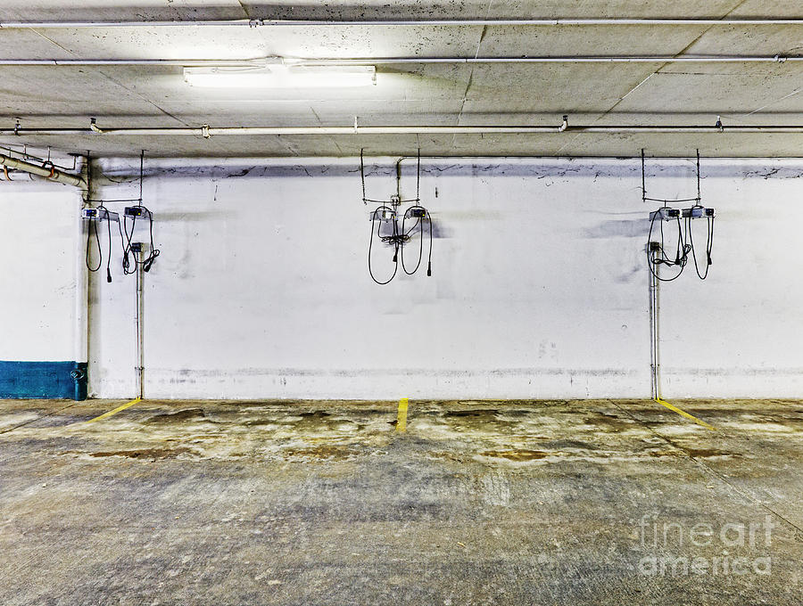 Basement Photograph - Parking Garage With Charging Stalls by Skip Nall