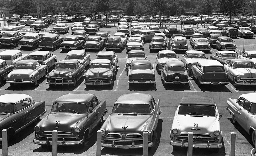 Horizontal Photograph - Parking Lot Full Of Cars by George Marks