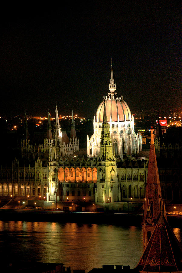 Vertical Photograph - Parliament Building Lit Up At Night, Danube River, by Roberto Herrero Garcia