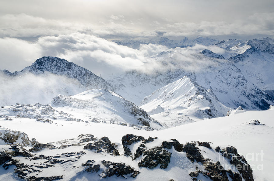 View Photograph - Parsenn Weissfluhgipfel View From The Summit Across The Swiss Alps by Andy Smy
