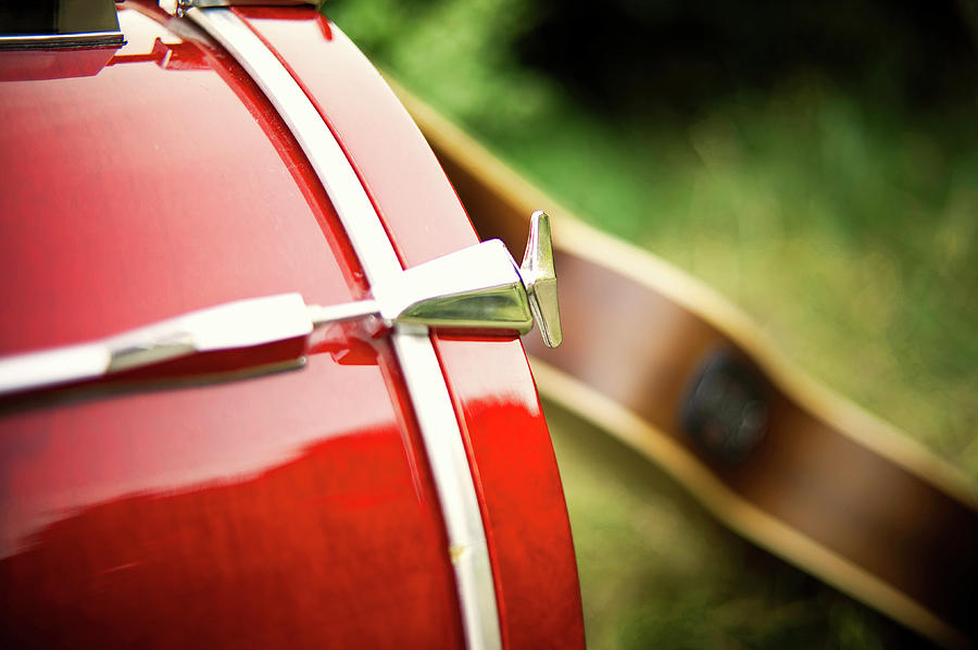 Part Of Red Bass Drum With Acoustic Guitar Photograph By Matthias