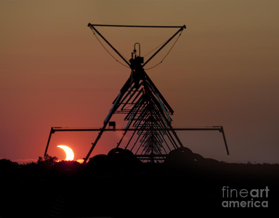 Prairie Sunset Photograph - Partial Solar Eclipse by Art Whitton