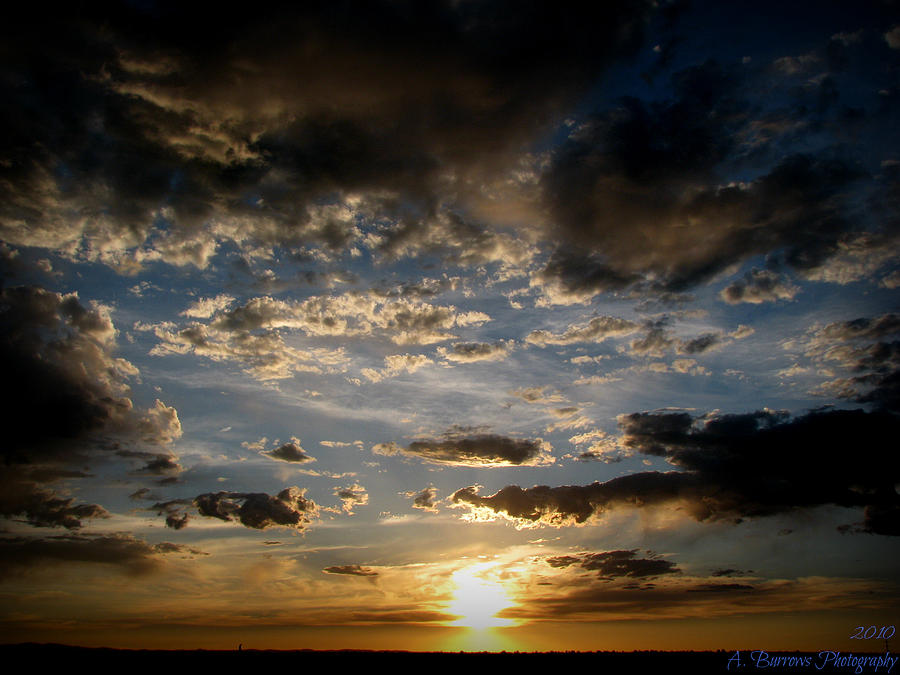 Albuquerque Photograph - Partly Cloudy Skies At Sunset by Aaron Burrows