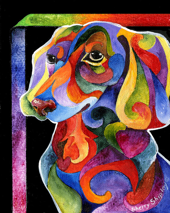 Dog Painting - Party Doxy by Sherry Shipley
