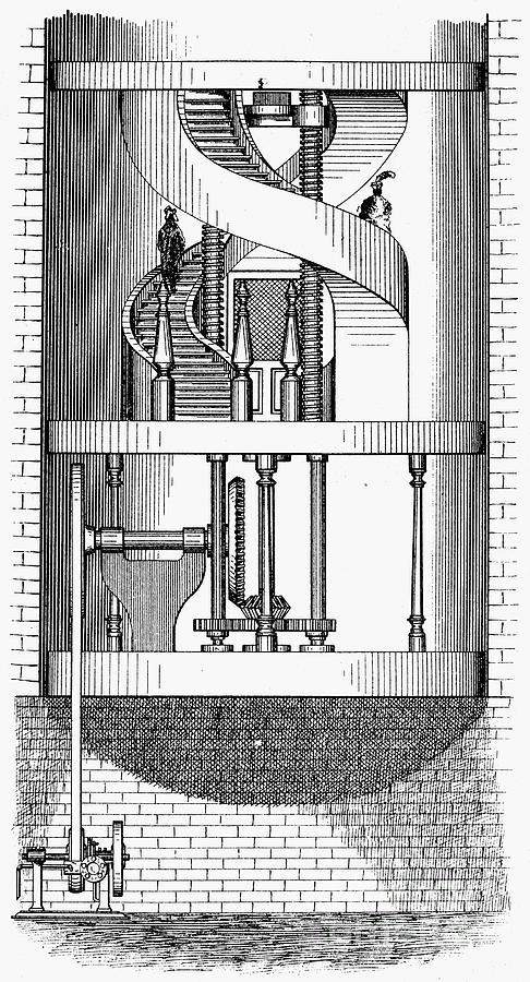1876 Photograph - Passenger Elevator, 1876 by Granger