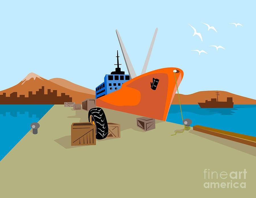 Ship Digital Art - Passenger Ship Ferry Boat Anchor Retro by Aloysius Patrimonio
