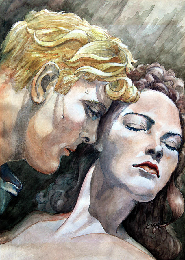 Watercolor Painting Painting - Passionate Embrace by Hanne Lore Koehler