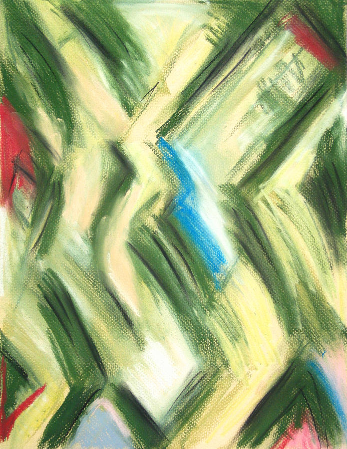 Abstract Cubism Painting - Pastel Green Shrubs And Bushes by Kazuya Akimoto