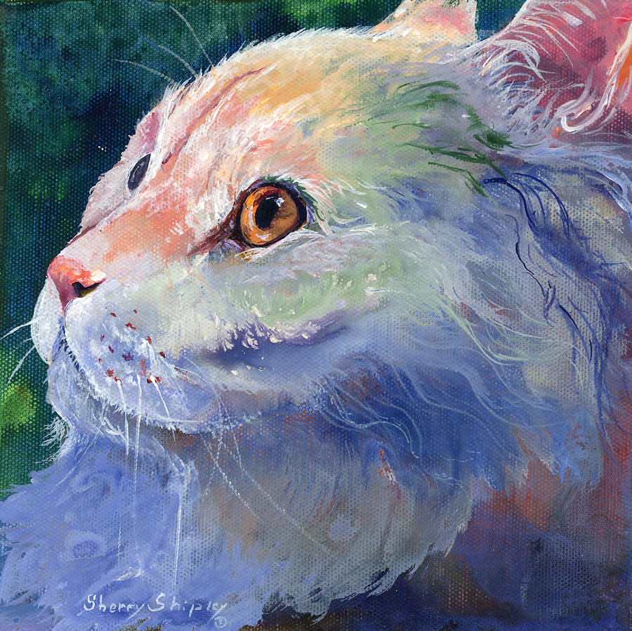 Cat Painting - Pastel Persian by Sherry Shipley