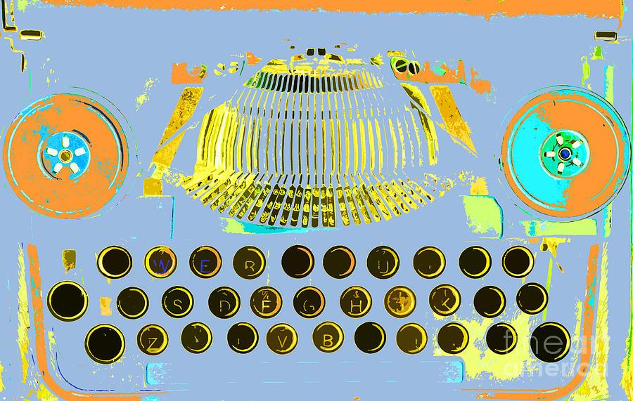 Anahi Decanio Mixed Media - Pastel Pop Typewriter Art by ArtyZen Studios