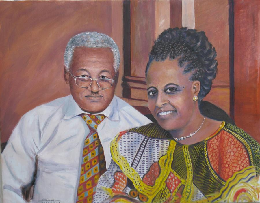 Oil Painting Painting - Pastor And Mrs. Bekele by Samuel Daffa