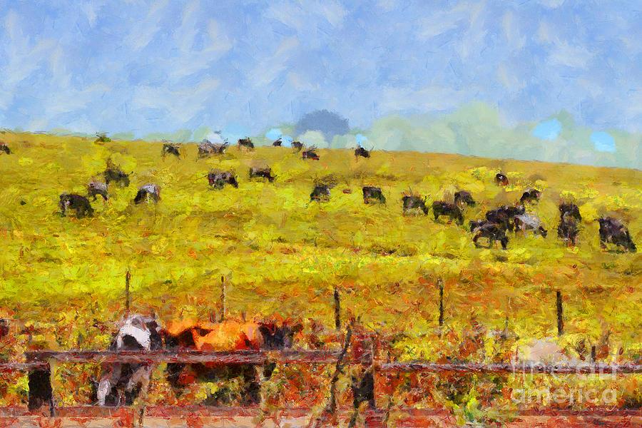 Landscape Photograph - Pastoral Landscape Painterly . 7d15962 by Wingsdomain Art and Photography