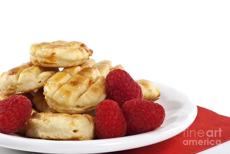 Pastry Photograph - Pastries And Raspberries by Blink Images