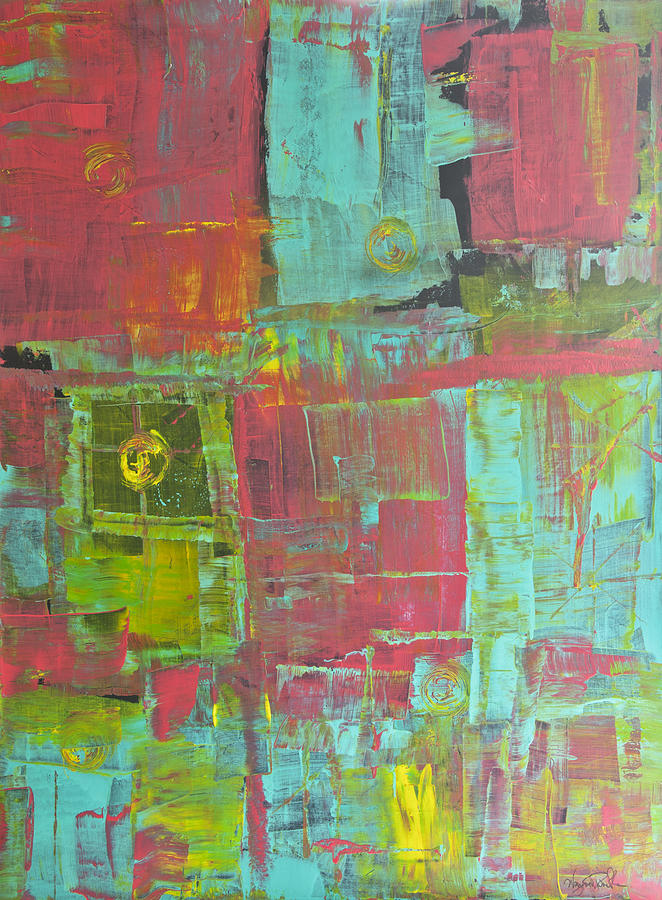 Abstract Painting - Patching Together Memories by Wayne Potrafka