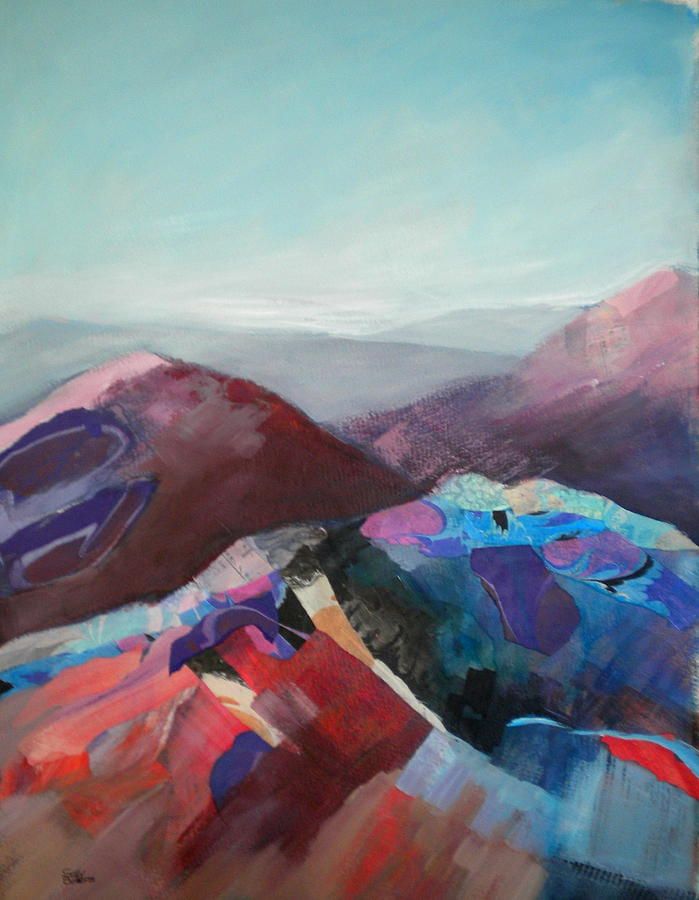 Abstract Painting - Patchwork Mountain by Sally Bullers