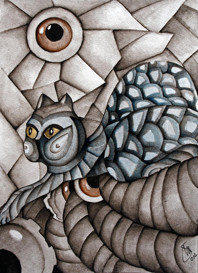 Cat Painting - Patience by Simona  Mereu