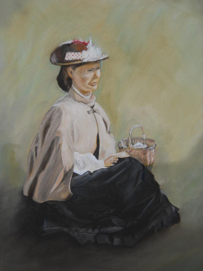 Girl Painting - Patiently Waiting by Joyce Reid