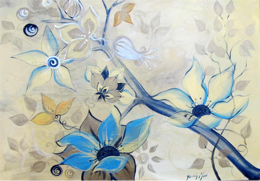 Floral Painting - Patina by Yasmin  Modi
