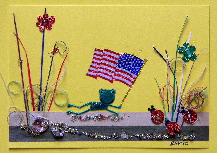 4th July Mixed Media - Patriot Frog by Gracies Creations