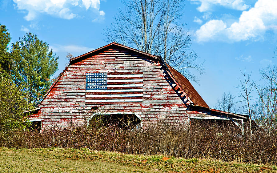 Barn Photograph - Patriotic Barn by Susan Leggett