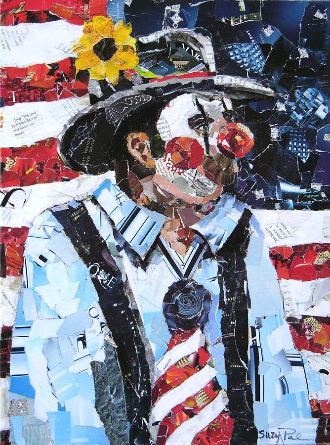 Artist Suzy 'pal' Powell Painting - Patriotic Clown by Suzy Pal Powell