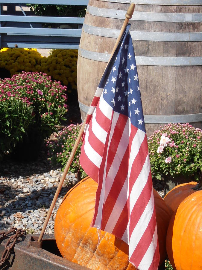 Flag Photograph - Patriotic Farm Stand by Kimberly Perry