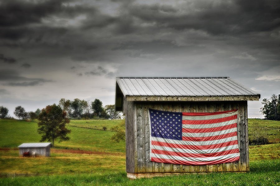 Usa Photograph - Patriotic Shed by Kathy Jennings