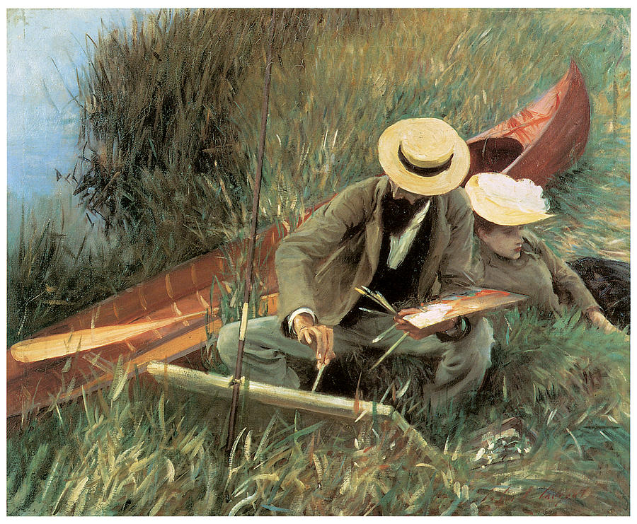 John Singer Sargent Painting - Paul Lenneu Sketching With His Wife by John Singer Sargent