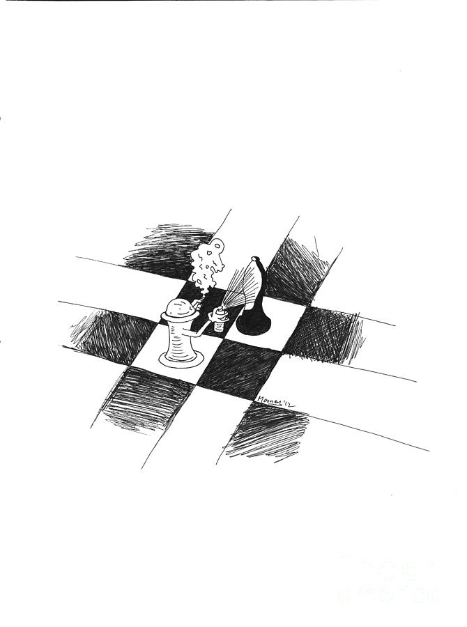 Chess Drawing - Pawnzie Scheme by Mike Mooney