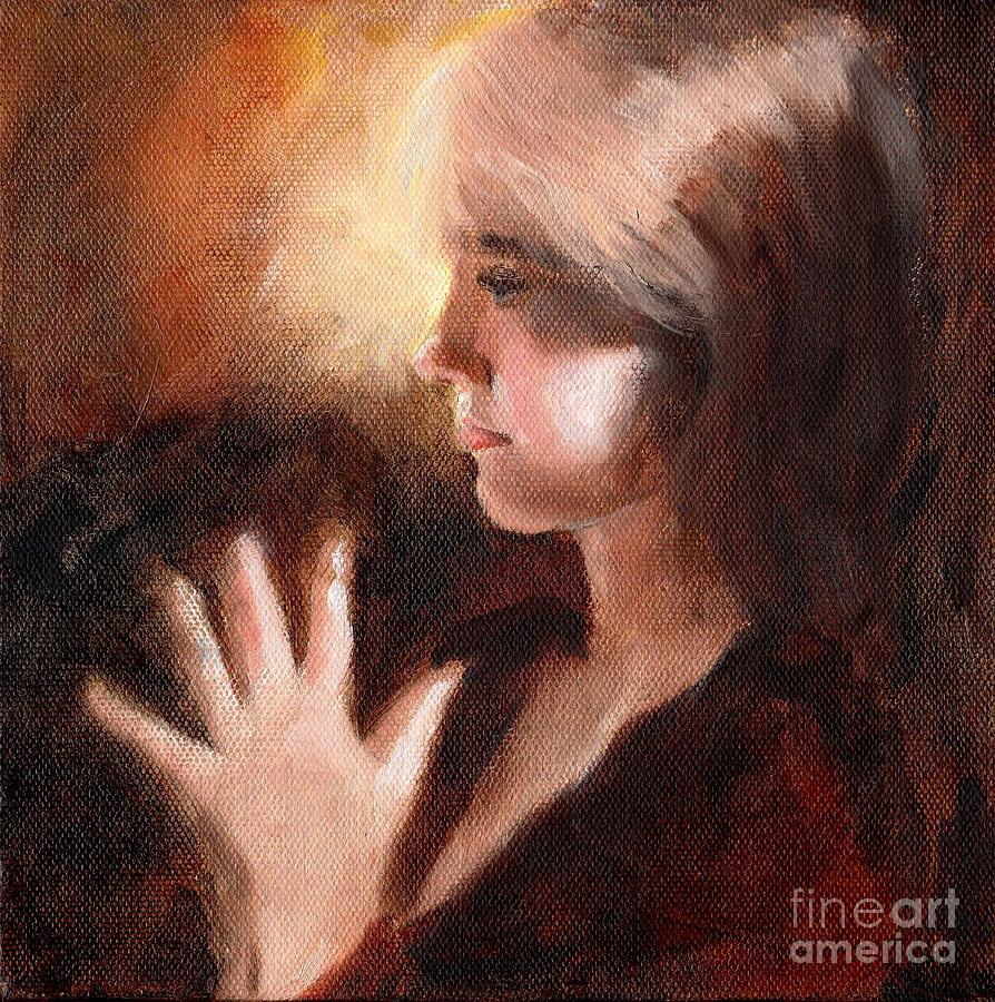 Portrait Profile Prayer Peace Young Girl Lady Teenager Devotion Mudra Painting - Peace by Ann Radley