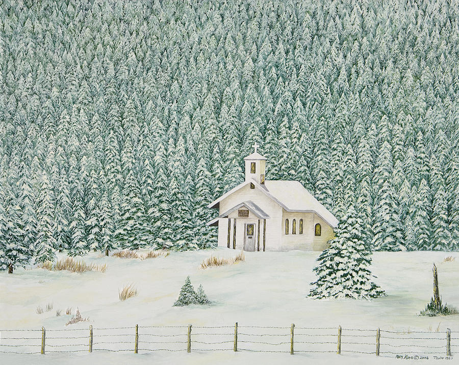 Oil Paintings Painting - Peace In The Mountains by Mary Ann King