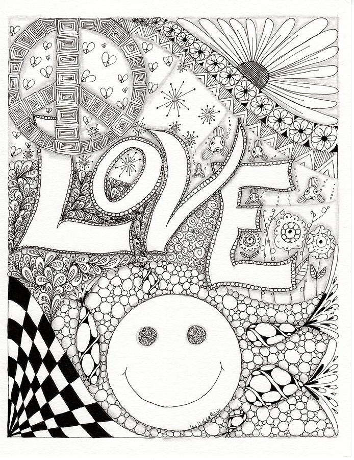 Peace Drawing - Peace Love And Happiness by Paula Dickerhoff
