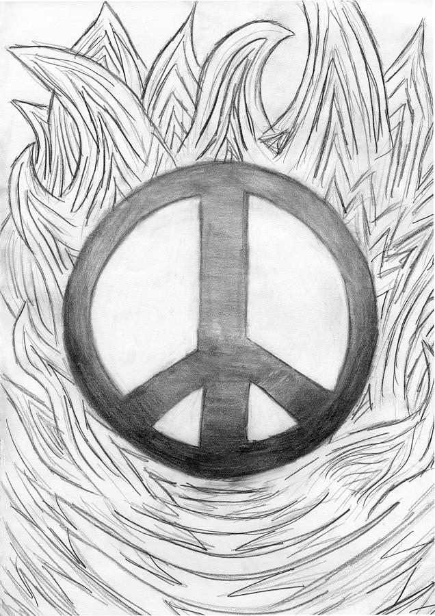 Peace Sign Drawing By Tessa Hunt Woodland
