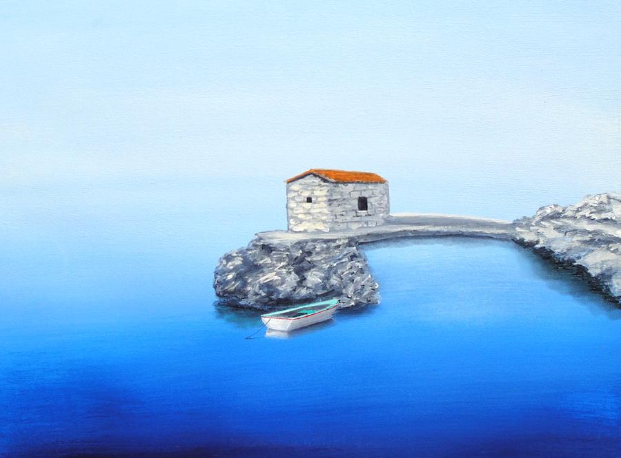 Boat Painting - Peaceful Adriatic  by Larry Cirigliano