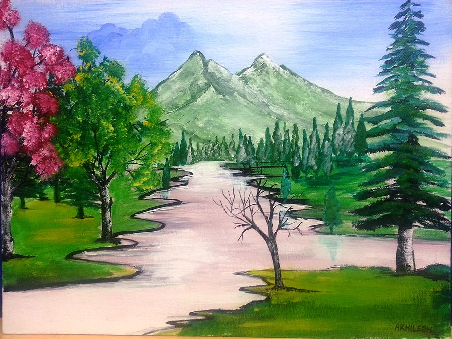 Peaceful environment Painting by Akhliesh Gupta