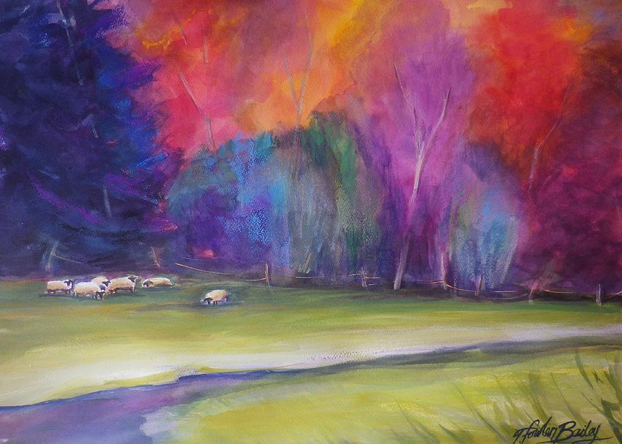 Pastoral Painting - Peaceful Pastoral Sheep by Therese Fowler-Bailey