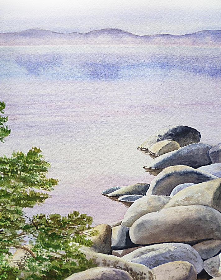 Affirmation Painting - Peaceful Place Morning At The Lake by Irina Sztukowski