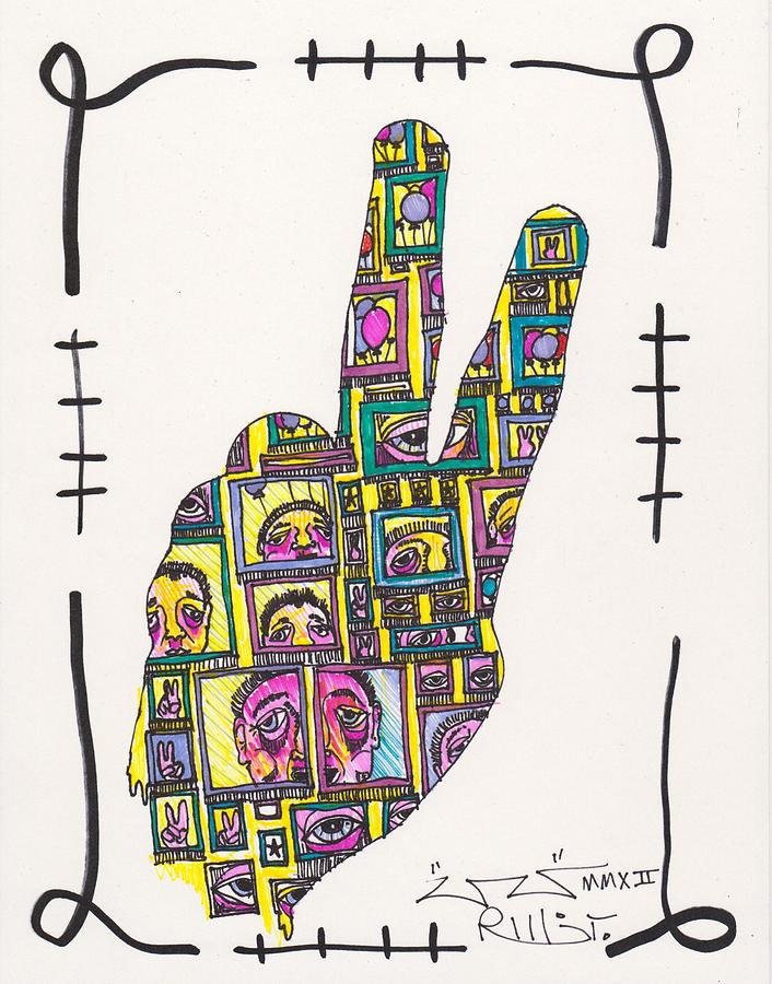 Peace Sign Drawing - Peace...outside Looking In by Robert Wolverton Jr