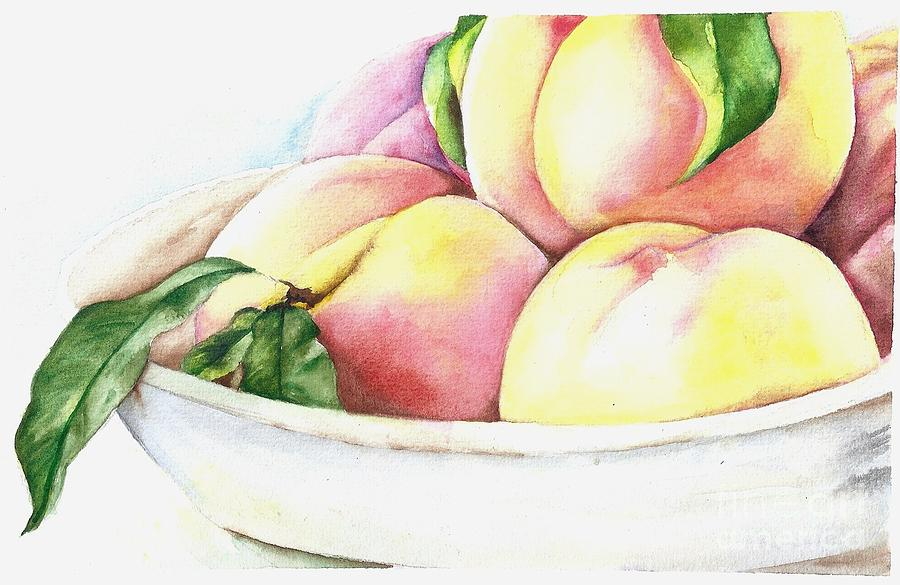 Watercolor Painting - Peaches by Elizabeth York
