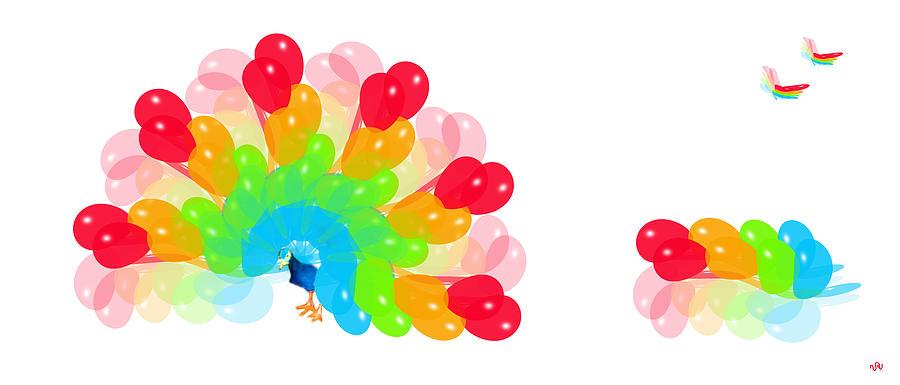 Peacock Digital Art - Peacock Balloon by Victoria Regueira