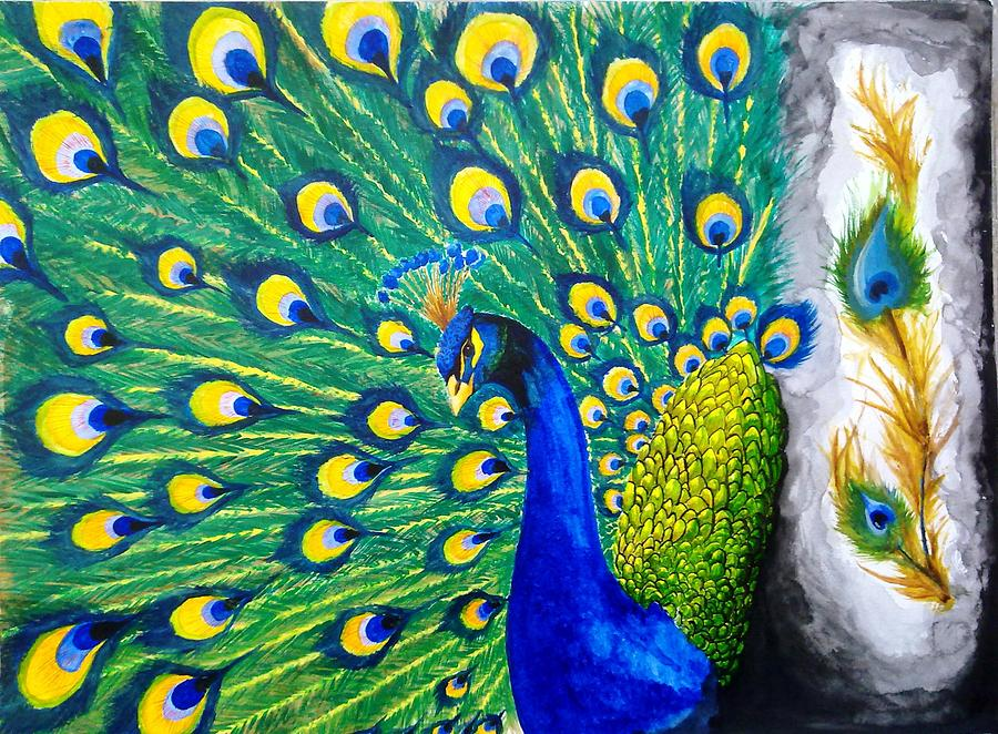 Peacock Painting - Peacock by Swapnil Sharma
