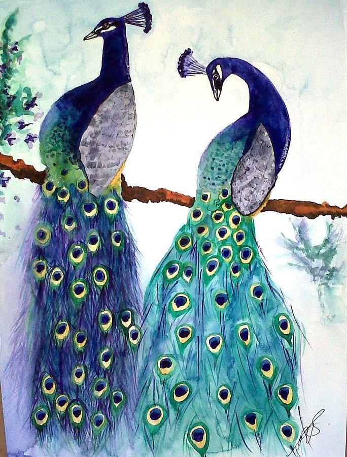 Peacock Painting - Peacocks I by Paula Steffensen